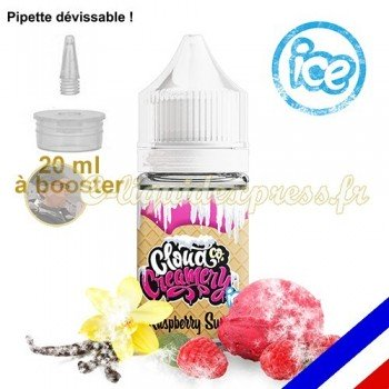 E-liquide Cloud Co 50/50 à booster Raspberry Swirl ICE - crème glacée framboise avec une touche de vanille - 20 ml