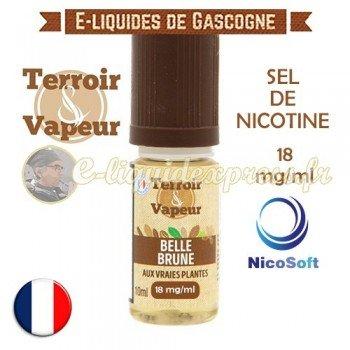 E-liquide Belle Brune au sel de nicotine 18 mg/ml Nicosoft - Terroir et Vapeur - 10 ml
