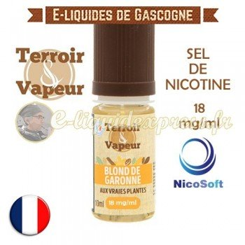 E-liquide Blond de Garonne au sel de nicotine 18 mg/ml Nicosoft - Terroir et Vapeur - 10 ml