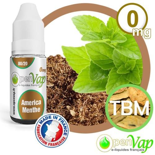E-liquide Openvap saveur América Menthe TBM 10 ml en 0 mg