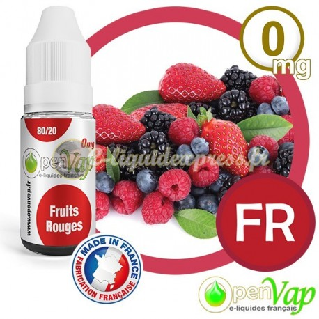 E-liquide Openvap saveur Fruits rouges FR 10 ml en 0 mg