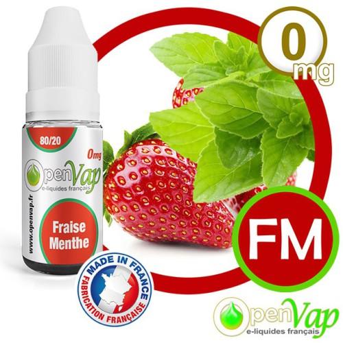 E-liquide Openvap saveur Fraise Menthe FM 10 ml en 0 mg