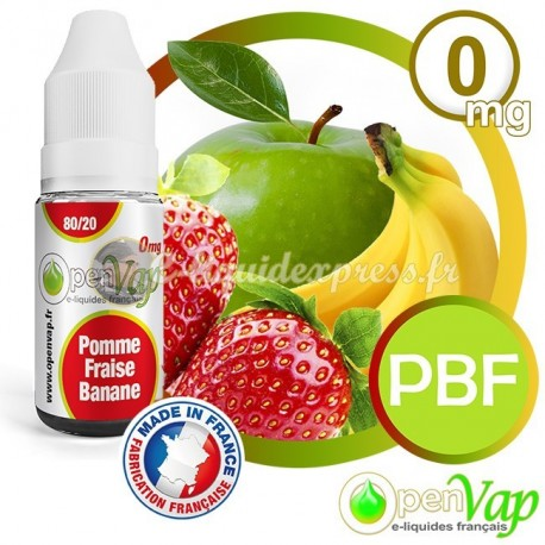 E-liquide Openvap saveur Pomme - Banane - Fraise PBF 10 ml en 0 mg
